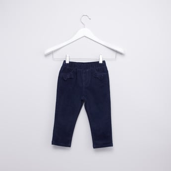Full Length Textured Pants with Pocket Detail and Bow Applique Detail