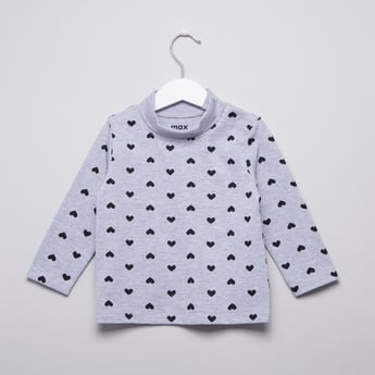 Printed T-shirt with Turtleneck and Long Sleeves