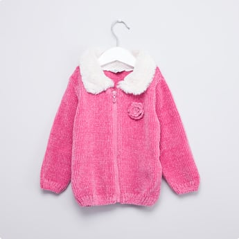 Chenille Fur Cardigan with Long Sleeves and Zip Closure