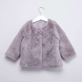 Textured Jacket with Bow Applique and Long Sleeves