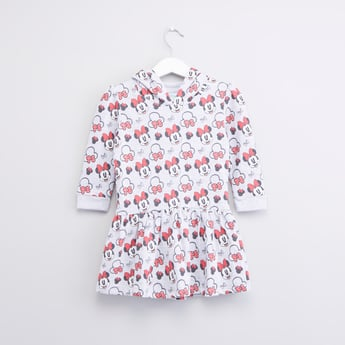 Minnie Mouse Printed Dress with Hood and Long Sleeves
