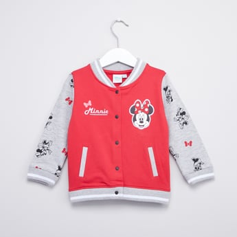 Minnie Mouse Printed Jacket with Long Sleeves and Pockets