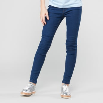 Plain Jeggings with Elasticised Waistband and Pocket Detail