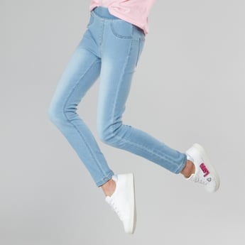 Solid Jeggings with Elasticised Waistband and Pocket Detail