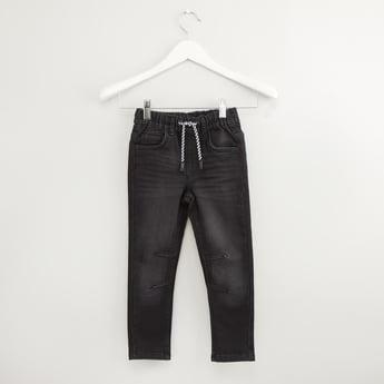 Solid Denim Jog Pants with Pocket Detail and Drawstring