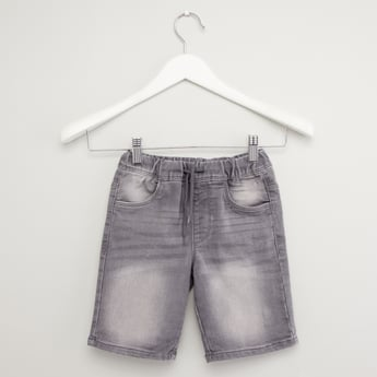 Textured Denim Shorts with Pocket Detail and Drawstring Waistband