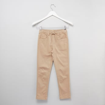Solid 5-Pocket Pants with Drawstring Waistband
