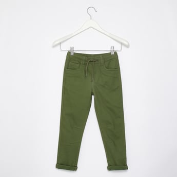 Full Length Solid Pull-On Pants with Folded Hem and Drawstring Closure