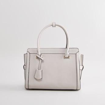 Plain Handbag with Zip Closure and Detachable Strap