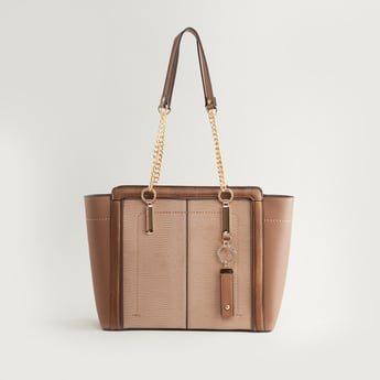 Textured Tote Bag with Twin Handles and Zip Closure