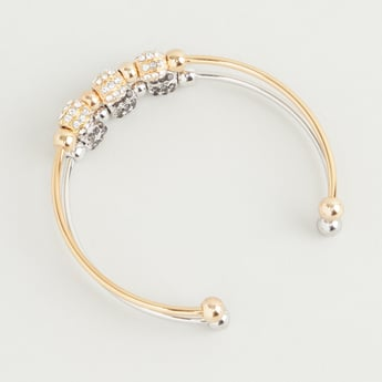 Set of 2 - Stud Detail Bracelet with Open Cuff