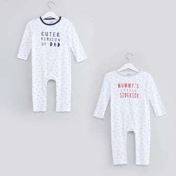 Set of 2 - Slogan Printed Sleepsuits with Round Neck