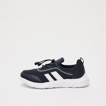 Textured Sneakers with Stripe Detail and Drawstring Closure