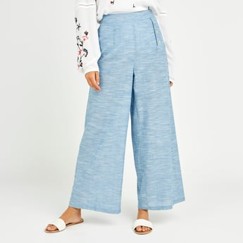 Textured Palazzo Pants with Button Detail and Elasticised Waistband