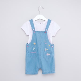 Striped Round Neck T-shirt and Denim Dungaree Set