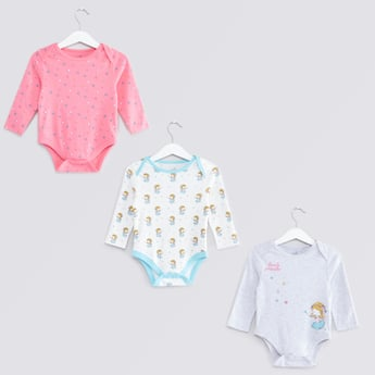 Set of 3 - Printed Bodysuit with Long Sleeves and Button Closure