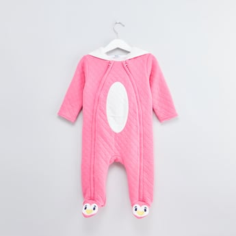 Textured Closed Feet Bodysuit with Long Sleeves and Hood