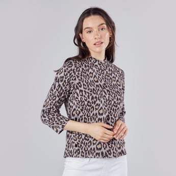 Printed Boxy Top with High Neck and 3/4 Sleeves
