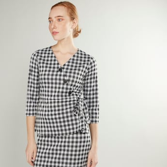 Chequered Wrap Top with 3/4 Sleeves and Button Detail