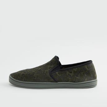 Textured Slip-On Shoes with Elasticised Gusset
