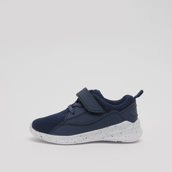 Textured Lace Up Sports Shoes with Hook and Loop Closure