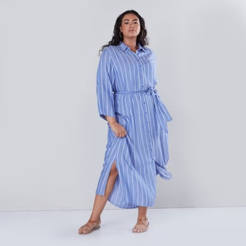 Striped Maxi Shirt Dress with Tie Up Belt