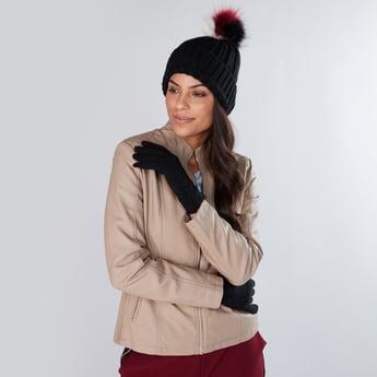 Pom-Pom Detail Beanie Cap with Gloves