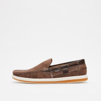 Textured Slip-On Shoes with Eyelet Detail