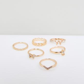 Metallic Finger Ring - Set of 5