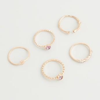 Set of 5 - Stone Studded Ring