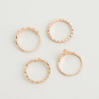 Set of 4 - Stackable Stone Studded Rings