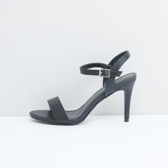 Sandals with Textured Straps and Stiletto Heels