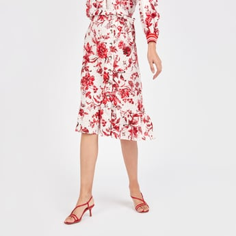 Floral Print Midi Skirt with Tie Ups and Asymmetric Hem