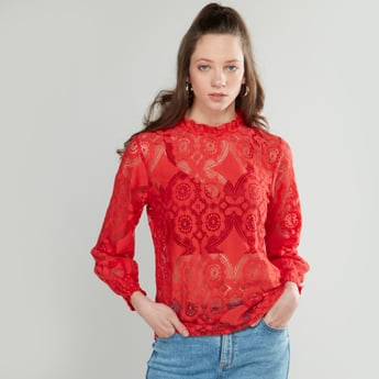 Lace Top with High Neck and Long Sleeves