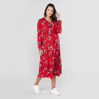فستان ميدي إيه لاين بأكمام طويلة وطبعات زهرية للحوامل