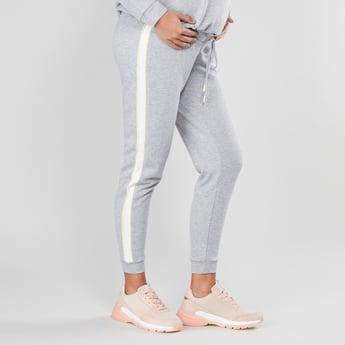 Maternity Full Length Mid Waist Jog Pants with Side Tape Detail