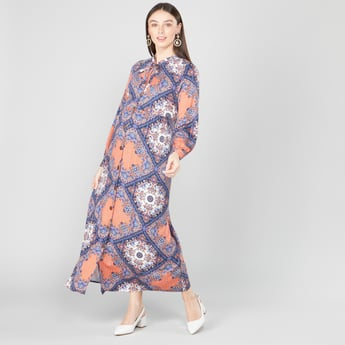 Printed Maxi A-line Dress with Necktie and Long Sleeves