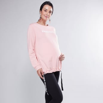 Printed Maternity Sweatshirt with Round Neck and Long Sleeves