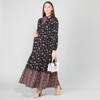 Printed Maxi A-line Maternity Dress with Necktie and Bishop Sleeves