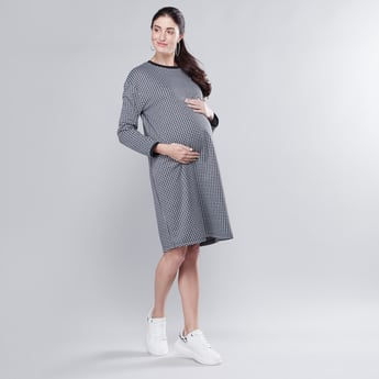 Maternity Chequered Midi A-line Dress with Long Sleeves