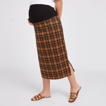Maternity Chequered Midi Pencil Skirt with Elasticised Waistband