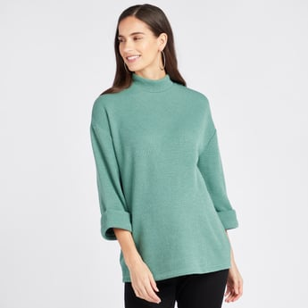 Textured High Neck Maternity Sweater with 3/4 Sleeves