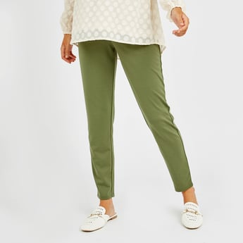Maternity Solid High-Rise Leggings with Elasticised Waistband