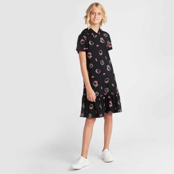 All-Over Hello Kitty Print Knee Length Dress with Short Sleeves and Hood