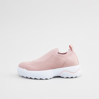 Textured Slip-On Walking Shoes with Pull Tab