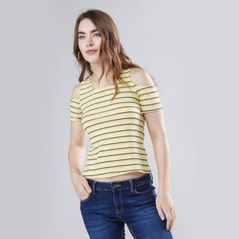 Striped Cold Shoulder Top with Round Neck and Short Sleeves