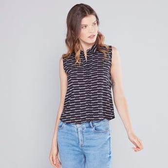 Printed Sleeveless Crop Shirt with Spread Collar
