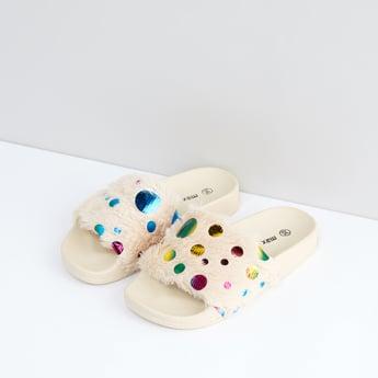 Slides with Plush Detail Straps