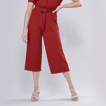 Textured Culottes with Elasticised Waistband and Belt