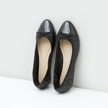 Quilted Ballerina Shoes with Bow Detail
